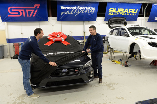 The first 2015 WRX STI to arrive at Vermont SportsCar, the home of Subaru Rally Team USA. (PRNewsFoto/Subaru of  ...