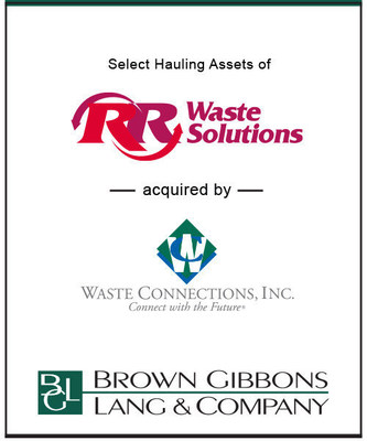 Brown Gibbons Lang & Company (BGL), a leading investment bank, is pleased to announce the sale of select, non-core hauling assets of Red River Waste Solutions (RR Waste) to Waste Connections, Inc. The specific terms of the transaction were not disclosed.  BGL's Environmental & Industrial Services team served as financial advisor to RR Waste in the transaction.