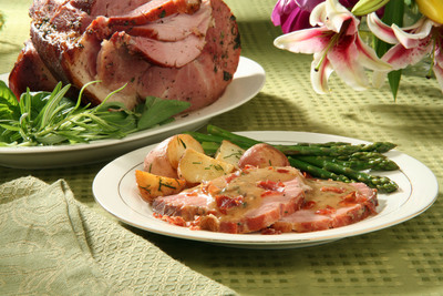 Just in time for Easter, a fresh and new Roasted Ham Saltimbocca recipe from the National Pork Board.  (PRNewsFoto/National Pork Board)