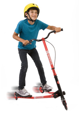 Yvolution brings Y Fliker, the number one selling outdoor toy in the UK, to America. This innovative family of patented, self-propelling three-wheeled scooters gets kids up and active. There's no more kicking the pavement like with simple, two-wheeled scooters! Riders simply move their hips from side to side to get going and keep moving using body power for self-propelling fun. Y Fliker is available in multiple sizes and colors for kids through adults.
