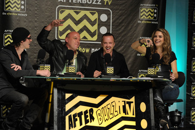(l-r) Breaking Bad's RJ Mitte, Dean Norris and Aaron Paul join AfterBuzz TV co-founder Maria Menounos on AfterBuzz TV's Breaking Bad edition. The network is using Akamai's Sola Media Solutions to deliver all of its live online video 'aftershows' to iOS and Android smartphones and tablets as well as personal computers.  (PRNewsFoto/Akamai Technologies, Inc.)
