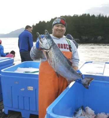 """A fisherman helped bring in the """"first catch"""" of Alaska Copper River salmon, some of which was flown to Denali Princess Wilderness Lodge for guests to enjoy, just hours after being caught. Watch video: https://www.youtube.com/watch?v=kICqLkuREtw"""