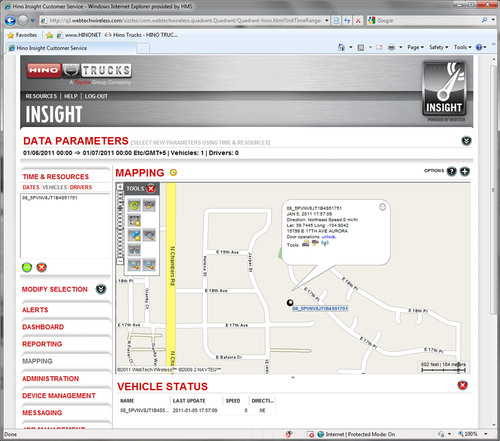 HINO INSIGHT MAP VIEW - Monitor the fleet in motion, analyze routes, manage landmark and geofence parameters, or unlock a door of a vehicle with the keys locked in it, easily from a single web page within HinoInsight.com.    (PRNewsFoto/Hino Trucks)