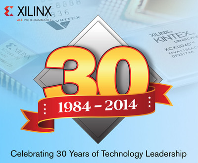 Xilinx is celebrating 30 years of technology leadership. With over 3,500 patents and 60 industry firsts, Xilinx is known for its historic achievements including the introduction of the first FPGA and the inception of the fabless model. Recent innovations have transformed Xilinx from its programmable logic heritage to an 'All Programmable' company, creating and integrating 'All' forms of hardware, software, digital, and analog programmable technologies into its All Programmable FPGAs, SoCs and 3D ICs. These devices combine the value of programmable systems integration with embedded intelligence and flexibility, enabling the rapid development of highly programmable and smarter systems. (PRNewsFoto/Xilinx, Inc.) (PRNewsFoto/XILINX, INC.)