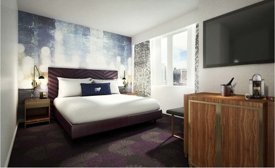 Rendering of guest room at future Cambria hotels & suites Chicago - Magnificent Mile