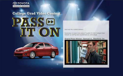 Samuel Arnett of Stanford University wins a 2012 Corolla S with his old-school rap promoting Toyota Financial Services' $1,000 College Rebate program. www.toyotagradcontest.com.  (PRNewsFoto/Toyota Financial Services)