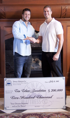 Denver Mattress Donates $200,000 to the Tim Tebow Foundation to Help Orphans in the United States and Around ...