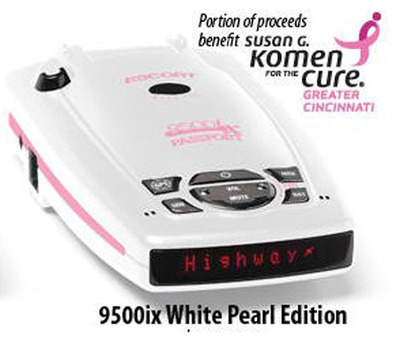 ESCORT's PASSPORT 9500ix 'Susan G. Komen for the Cure' windshield mount radar detector.  (PRNewsFoto/ESCORT)