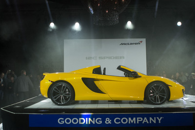 McLaren Automotive showed the second model in its growing range of high performance sports cars, the new 12C Spider, for the first time in public at this weekend's Pebble Beach Concours d'Elegance. The 12C Spider was revealed at the prestigious Gooding & Company Auction preview in Monterey, Calif. on Friday, August 17, then displayed on the Concept Car Lawn throughout the weekend.  (PRNewsFoto/McLaren Automotive)