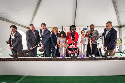 Credit unions, the Democratic National Convention Committee (DNcC) and RealClearPolitics break ground on a Health and Wellness Garden at the Children's Hospital of Philadelphia's Nicholas and Athena Karabots Pediatric Care Center.