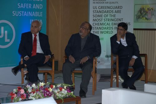 Chief Guest Dr. Prem C Jain (first from left), Chairman, IGBC and other prominent speakers at UL Sustainability  ...