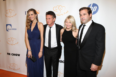 Petra Nemcova, Founder & Chairwoman, Happy Hearts Fund; Sean Penn, Founder & CEO, J/P Haitian Relief Organization and Lifetime Achievement Honoree; Renee Haugerud, Founder & CIO, Galtere LTD. and Heart of Gold Honoree; Phillip Caputo, Executive Director, Happy Hearts Fund attend Happy Hearts Fund Land of Dreams: Haiti gala on Nov. 5, 2011 in New York City.  (PRNewsFoto/Happy Hearts Fund)