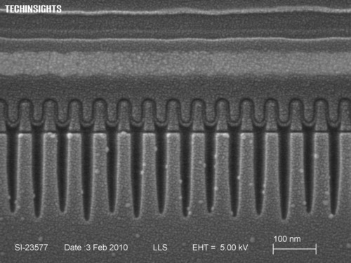 SEM cross section of IMFT 25nm NAND flash in wordline direction.  (PRNewsFoto/UBM TechInsights)