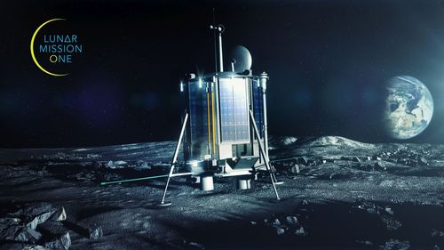 Lunar Mission One mock-up of the lander on the moon. Chaucer Consulting is working with Lunar Mission One to deliver the preparatory stage (PRNewsFoto/Chaucer Consulting)
