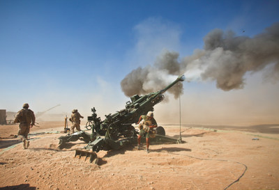 U.S. Marines fire an M982 Excalibur round from an M777 155 mm howitzer during a fire support mission at Fire Base Fiddlers Green, Helmand province, Afghanistan, Oct. 1, 2011. (Photo: U.S. Department of Defense)