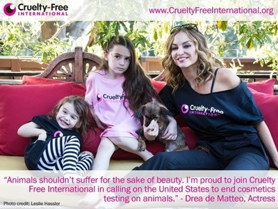 "On World Day for Animals in Laboratories (April 24th), former Sopranos actress Drea de Matteo teams up with Cruelty Free International and its campaign to end cosmetics testing on animals in the US. Pictured with her daughter, son and rescue pup Blankie, Drea who recently guest starred in Marvels' Agents of S.H.I.E.L.D  said, ""Animals shouldn't suffer for the sake of beauty. I'm proud to join Cruelty Free International in calling on the United States to end cosmetics testing on animals.""www.crueltyfreeinternational.org (photo credit: Leslie Hassler)."