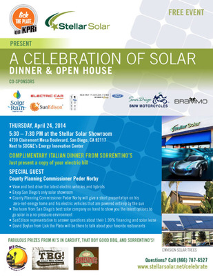 """Stellar Solar to Host Free """"Celebration of Solar"""" Dinner & Open House at San Diego's Only Solar Showroom April 24 from 5:30 - 7:30pm"""