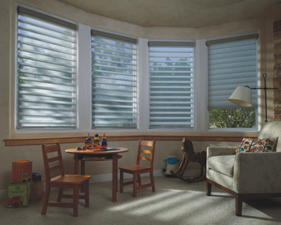 October is Window Covering Safety Month. Every Hunter Douglas product line has one or more options that make it especially appropriate for homes with young children.  In fact, the window fashions leader has consistently been at the forefront of the industry with regard to innovating alternative lifting systems that enhance the safety of its window coverings as well as building consumer awareness of window covering safety.  Hunter Douglas Silhouette(R) shadings with the LiteRise(R) cordless lifting system are an optimal choice for enhanced child safety as there are absolutely no tapes or cords running through the product.  (PRNewsFoto/Hunter Douglas)