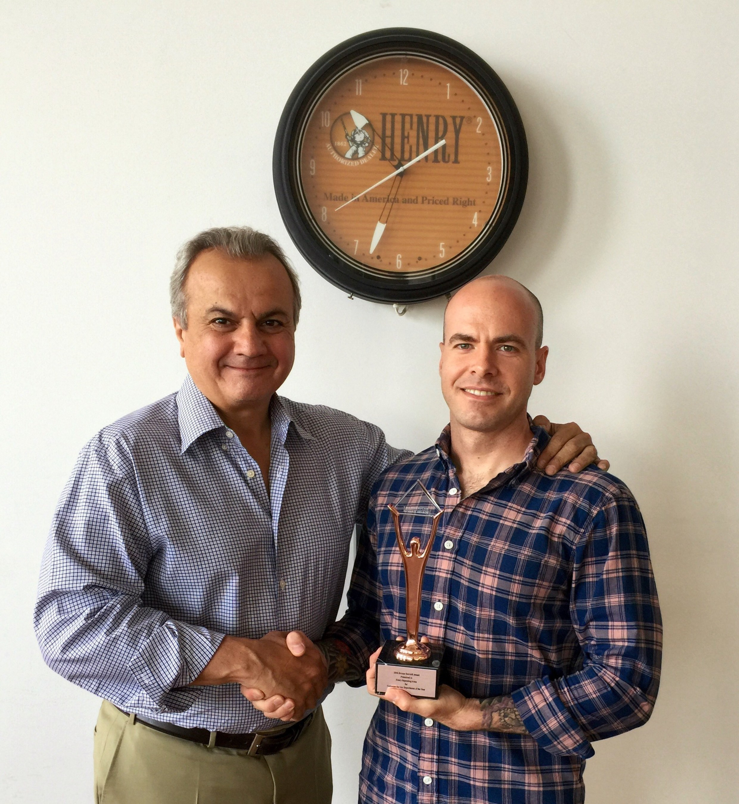 Henry Repeating Arms wins Customer Service and Social Media American Business Stevie(R) Awards.Anthony Imperato, President of Henry Repeating Arms (L) and Customer Service Supervisor, Tom Kotz