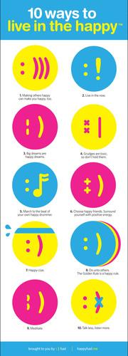 10 Ways to Live in the Happy. (PRNewsFoto/Happy Fuel LLC) (PRNewsFoto/HAPPY FUEL LLC)