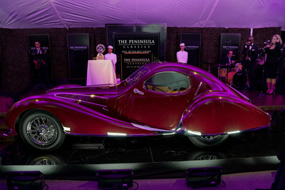 Pictured: The 1937 Talbot-Lago T150-C SS, Chassis No. 90106 Coupe aerodynamique 'Goutte d'Eau', Figoni & Falaschi owned by Peter and Merle Mullin and The Peter Mullin Automotive Museum Foundation that was named winner of the prestigious The Peninsula Classics Best of the Best Award.  Photo Credit: Scott Campbell Photography