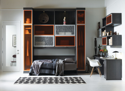 This multifunctional room by California Closets has personality thanks to colorful finishes and Lago® textured materials.