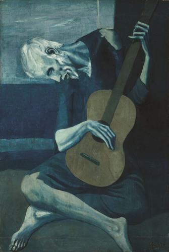 """Pablo Picasso, """"The Old Guitarist,"""" late 1903 - early 1904, oil on panel. The Art Institute of Chicago.  ..."""
