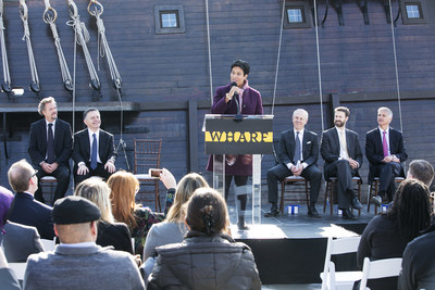 The Wharf Press Conference on Transit Pier: (L to R) Kenneth Svendsen: CEO at Entertainment Cruises, Amer Hammour: Chairman of Madison Marquette, Mayor Muriel Bowser: District of Columbia, Monty Hoffman: Founder and CEO of PN Hoffman, Charles Allen: Councilmember, Chris Nassetta: CEO of Hilton Worldwide