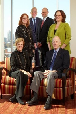 The Hubbard Family. Standing from left to right: Kathryn H. Rominski (Kari), Stan E. Hubbard, Robert W. Hubbard (Rob), Virginia H. Morris (Ginny). Seated from left to right: Karen H. Hubbard and Stanley S. Hubbard.