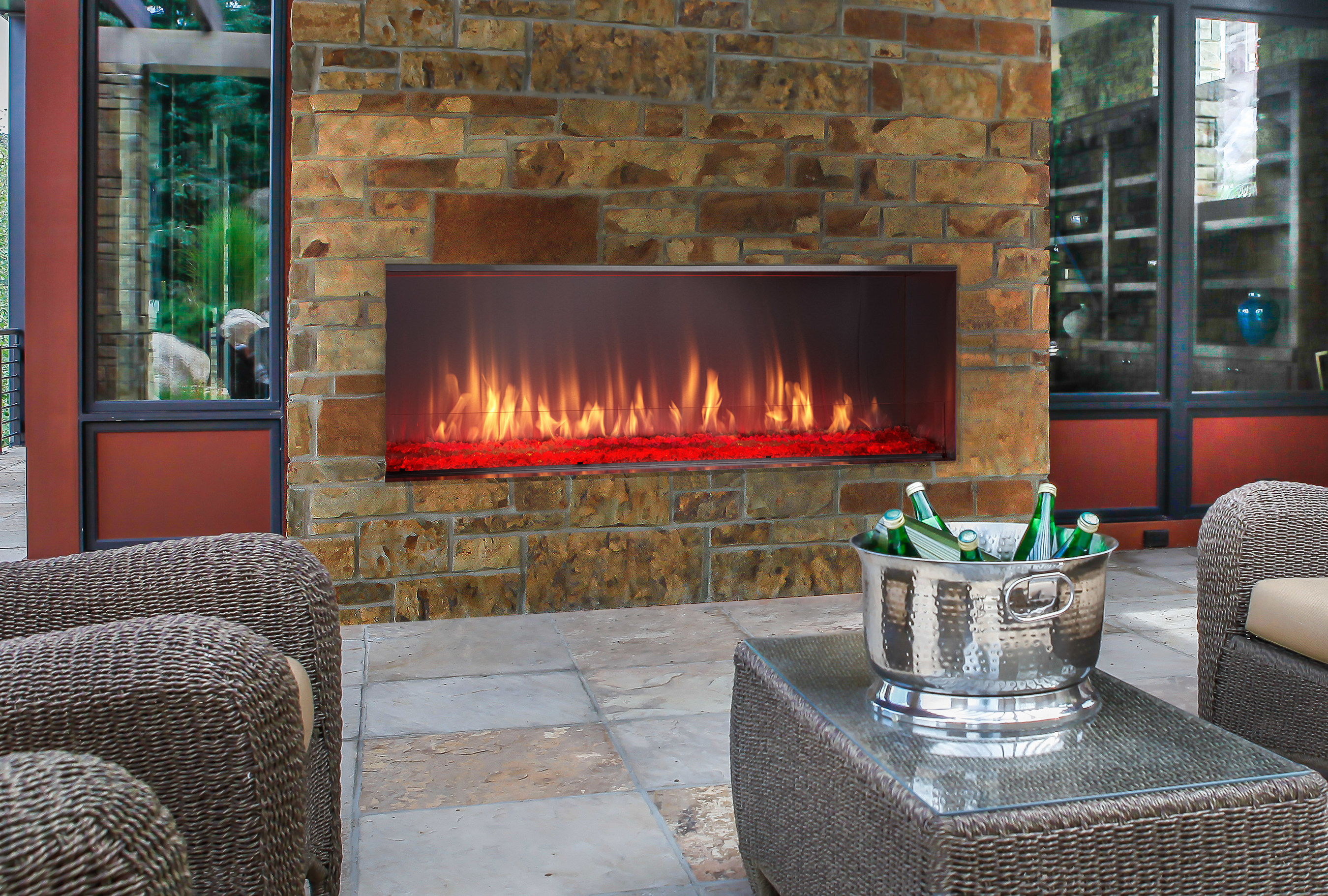 Offering Contemporary Style With A Colorful Firebed The Lanai Outdoor Gas Fireplace Is Perfect