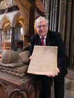 Robert Key with the Magna Carta copy at Salisbury Cathedral, at the tomb of William Longspee, half-brother of King John, who was at Runnymede on 15 June 1215. He was Earl of Salisbury and he was the first person to be buried in Salisbury Cathedral.