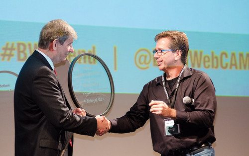 Bruce Clay is recognized for his contribution to the SEO industry's growth and development with a lifetime achievement award from the History of SEO advisory board. Photo by Timothy Park http://www.timothypark.com.  (PRNewsFoto/Bruce Clay, Inc.)