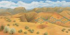 Kay WalkingStick (Cherokee, b. 1935), New Mexico Desert, 2011. Oil on wood panel, 40 x 80 x 2 in. Purchased through a special gift from the Louise Ann Williams Endowment, 2013. Photo by Ernest Amoroso, NMAI. (26/9250)