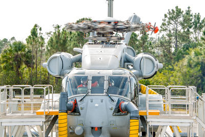 In January 2014, Sikorsky powered 'on' the three GE 7,500 shaft horsepower class engines of the first CH-53K heavy lift helicopter prototype - known as the Ground Test Vehicle - and spun the rotor head without rotor blades. The event continues safety-of-flight tests started in December with pilots at the aircraft's controls. The Ground Test Vehicle is anchored to the ground at Sikorsky's West Palm Beach, Development Flight Center in Florida. Four additional test aircraft are being prepared for flight test, beginning in late 2014. (PRNewsFoto/Sikorsky Aircraft Corporation) (PRNewsFoto/SIKORSKY AIRCRAFT CORPORATION)