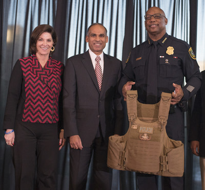 LyondellBasell CEO, Bob Patel, presents check for $35,000 to the Houston Police Foundation to purchase tactical vests. [Left] Houston Police Foundation Executive Director, Charlene Floyd [Center] LyondellBasell CEO, Bob Patel [Right] Houston Police Chief Charles McClelland