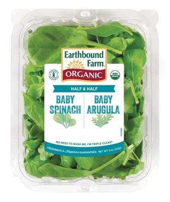New organic Half & Half: Baby Spinach & Arugula blend from Earthbound Farm