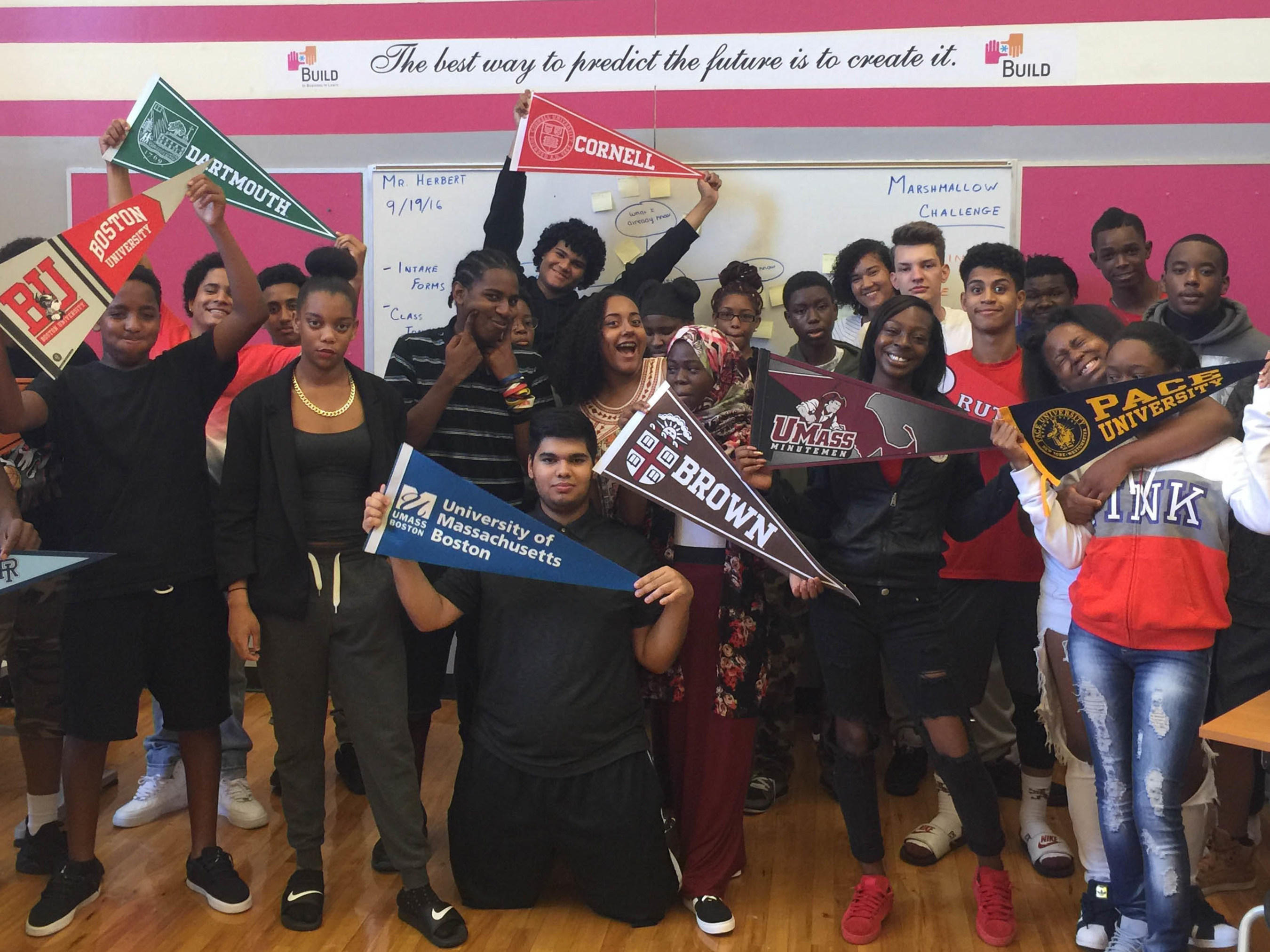 Students in BUILD's youth business incubator at Jeremiah E. Burke High School in Dorchester, Massachusetts.