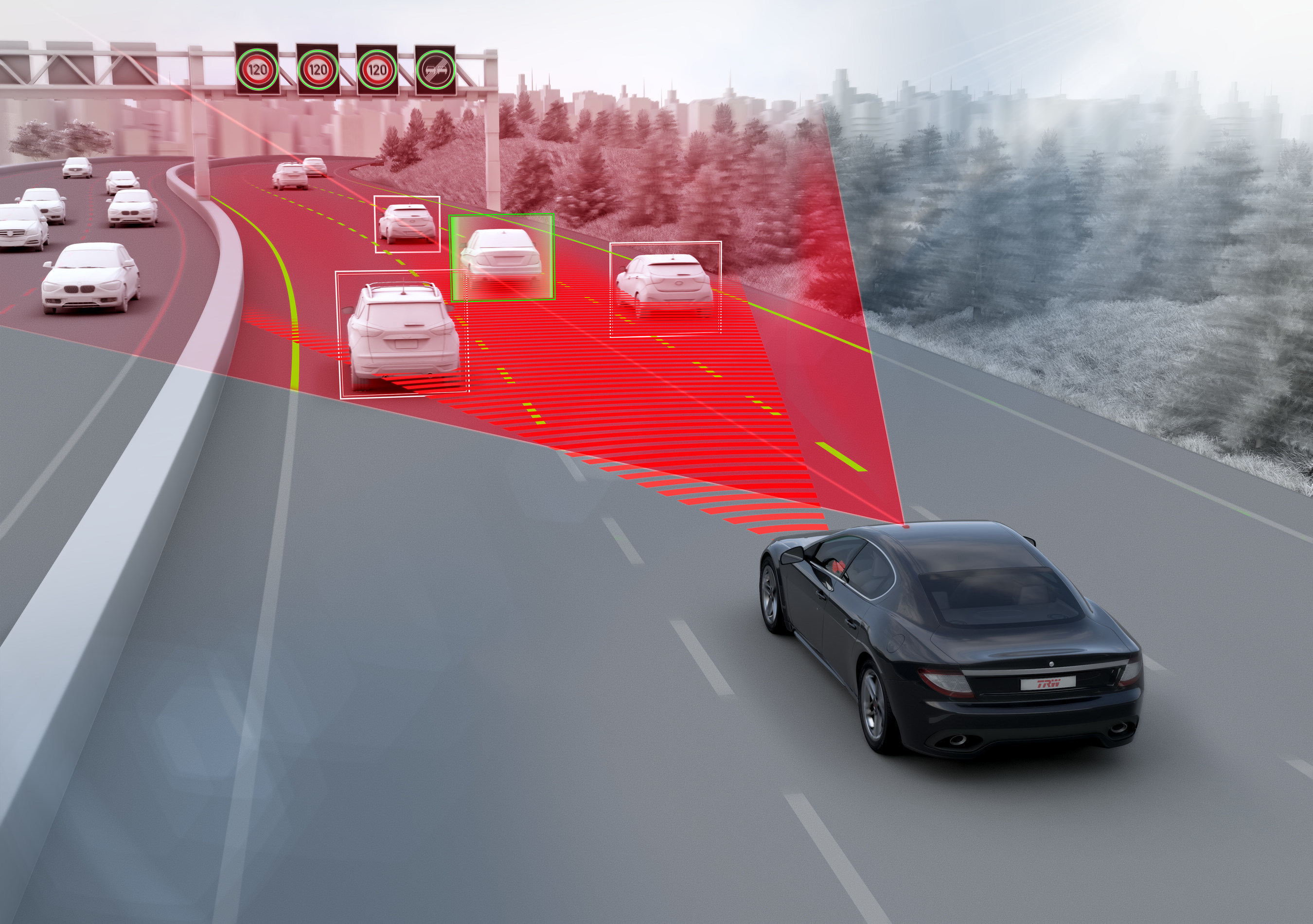 Highway Driving Assist (HDA) enables automatic steering, braking and acceleration for speeds from 0 kph. It combines adaptive cruise control and lane centering to maintain the lane and a set interval to target vehicles ahead. The image shows HDA for a single lane application - the company is also developing a 360 degree sensing system for multi-lane applications.