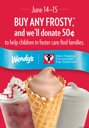 Wendy's(R) is making Father's Day even sweeter with a Frosty(TM)! Throughout Father's Day Frosty Weekend -- Saturday, June 14, and Sunday, June 15 -- participating Wendy's restaurants will donate 50 cents from the sale of every Frosty product to support the Dave Thomas Foundation for Adoption(R), an organization that works to help find permanent families for the more than 134,000 children in North America waiting in foster care to be adopted. (PRNewsFoto/The Wendy's Company)