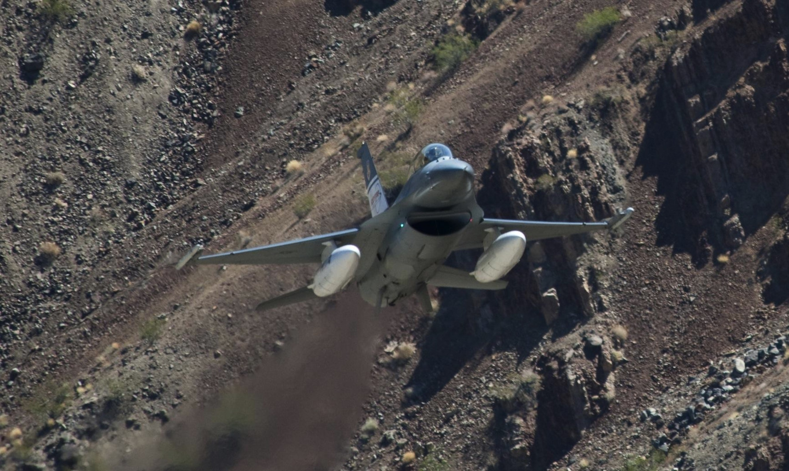 The Auto Ground Collision Avoidance System is flight tested on an F-16D at NASA's Dryden Flight Research Center in Palmdale, California. Photo: NASA