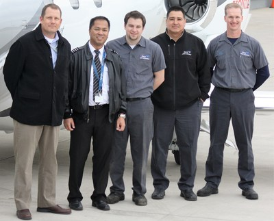 Gary Jet Center Employees, Left to Right: Kyle Johnson, Director of Charter Department; Gavin Cuaresma, HondaJet Captain; Tony LaPaglia, HondaJet Maintenance Technician, Cruz Rosales, Chief Inspector, Fred Oosterhoff, Director of MaintenancePhoto credit: Wendell Harris