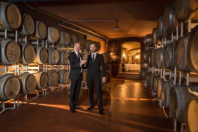 Gianluca Bisol and Desiderio Bisol in the Bisol barrel room - photo by Mattia Mionetto