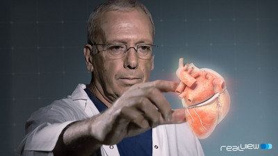 In the pilot study, clinicians were able to manipulate the projected 3D heart structures by literally touching the holographic volumes in front of them.