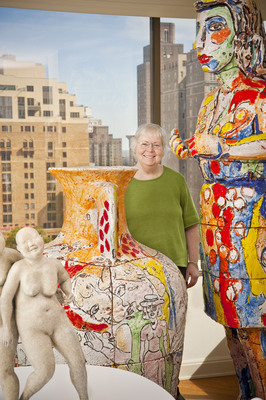 Linda Lee Alter with works from her Art by Women Collection. Photo by Stephen Coan.  (PRNewsFoto/The Pennsylvania Academy of the Fine Arts, Stephen Coan)