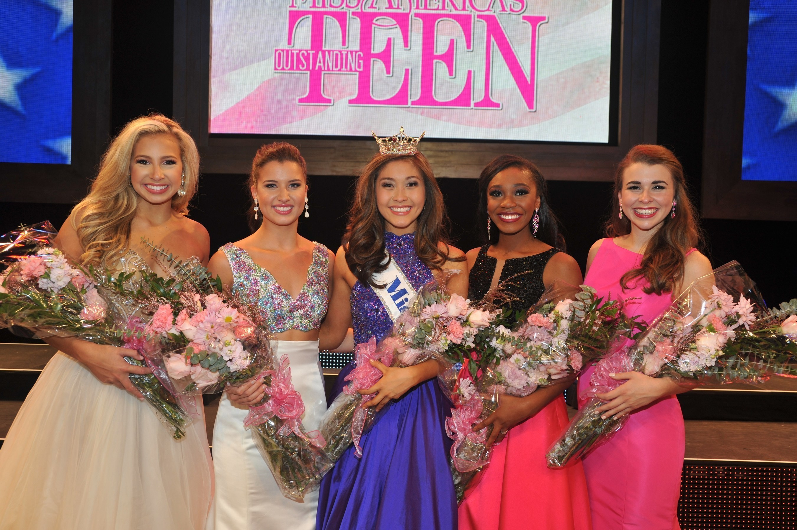 2017 Miss America's Outstanding Teen Competition Top 5 (l-r) Third Runner-Up, Miss Florida's Outstanding Teen Anjelica Jones; First Runner-Up, Miss North Carolina's Outstanding Teen Catherine White; Miss America's Outstanding Teen 2017 Nicole Jia; Second Runner-Up, Miss Georgia's Outstanding Teen Kelsey Hollis; and Fourth Runner-Up, Miss Louisiana's Outstanding Teen Sarah Katherine McCallum