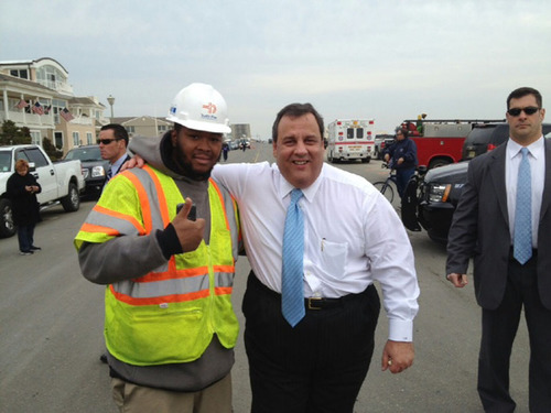 New Jersey governor Chris Christie visits a Traffic Plan job site.  (PRNewsFoto/Traffic Plan)