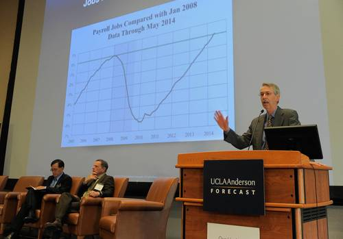 UCLA Anderson Forecast Director Ed Leamer presents the national economic outlook on June 12, 2014. (PRNewsFoto/UCLA Anderson School Management)