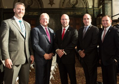 Chris Hale, Chairman & Co-founder, Victory Media (L), recognized Combined Insurance as the #1 Military Friendly Employer in the Country at an award ceremony held at the Chicago Cultural Center. Pictured with him from Combined Insurance (L to R); Doug Abercrombie, SVP, Chief Agency Officer; Brad Bennett, President; Art Kandarian, SVP, Business Development; and Joseph Pennington, National Military Program Manager.
