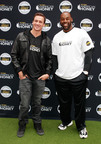 Eleven-time Olympic medalist and TV star Ryan Lochte and pro football legend Donovan McNabb host first ever American Honey Bar-sity Athletics kickball game in Times Square, on Tuesday, April, 23, 2013 in New York City, New York. (Photo by Mark Von Holden/Invision for American Honey/AP Images).  (PRNewsFoto/Campari America)