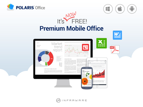 The brand new POLARIS Office is a cloud-based free-of-charge office application available on all mobile devices. POLARIS Office can be used from anywhere at anytime. (PRNewsFoto/INFRAWARE)